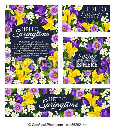 Spring Season Holiday Flowers Bloom Vector Posters Springtime