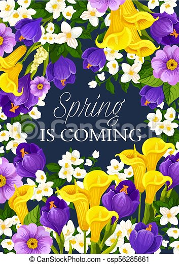 Spring Season Holiday Flowers Vector Greeting Card Spring Is Coming