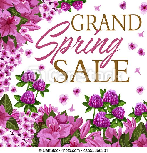 Spring season sale discount offer floral banner. Spring seasonal ...