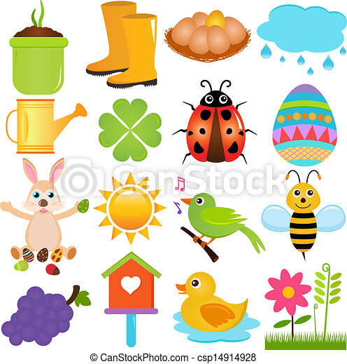 a colorful set of cute vector icons spring season theme isolated rh canstockphoto com Spring Summer spring season clipart black and white