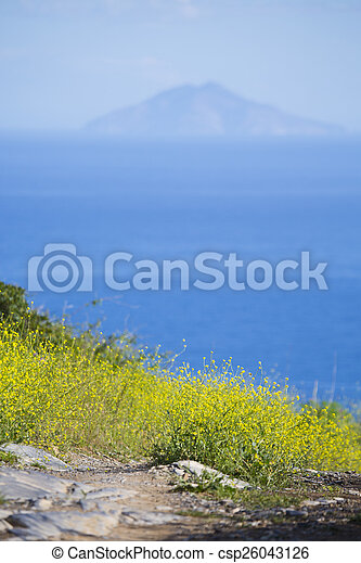 Spring sunny nature with a view of the sea and the island - csp26043126