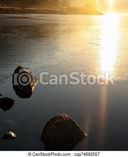 Spring sunset in Norway - csp74692557