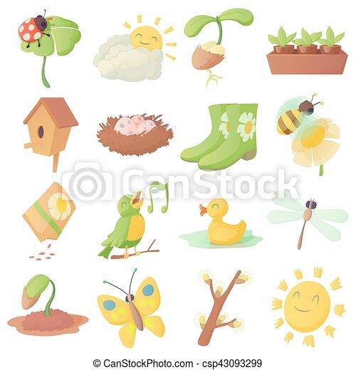 Spring things icons set, cartoon style - csp43093299