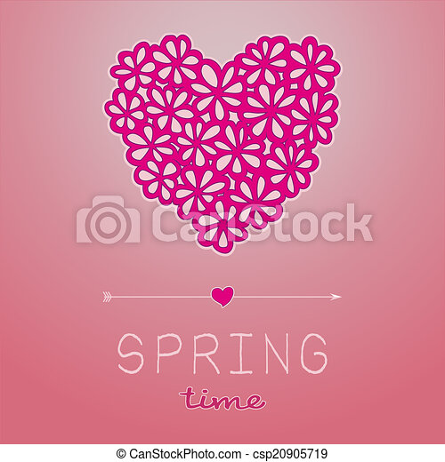 Spring time card with heart shaped bouquet in pink - csp20905719