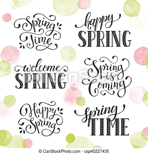 Spring time wording hand written spring time phrases with birds spring time wording eps vectorscsp45227435g m4hsunfo