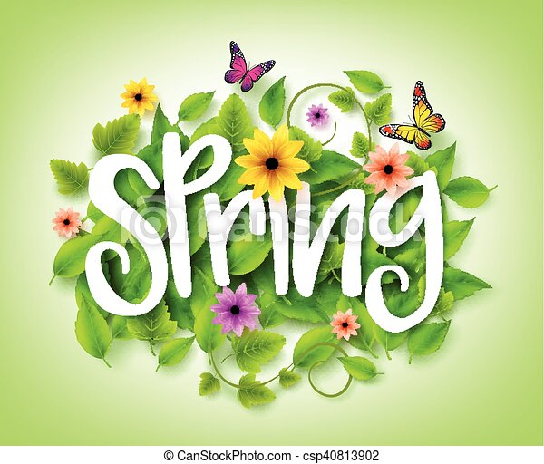 Spring Title Text With Vector Green Leaves In The Background With