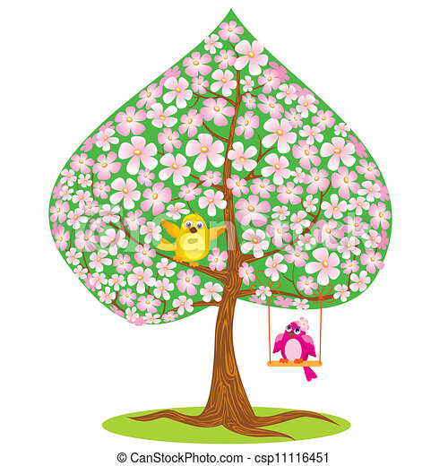 one of four seasons spring tree and funny bird rh canstockphoto com Christmas Animal Clip Art Spring Word Clip Art