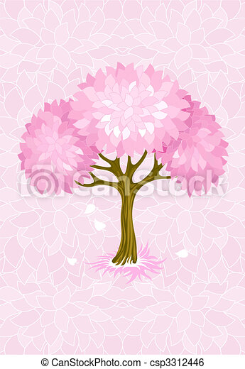 spring tree on pink background with ornament - csp3312446
