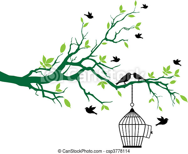 spring tree with birdcage and birds - csp3778114