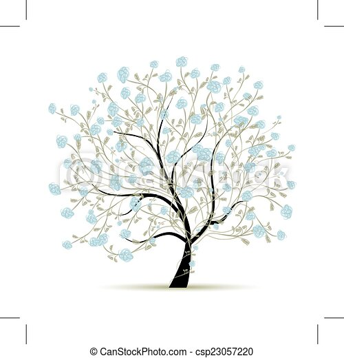 Spring Tree With Flowers For Your Design   Csp23057220