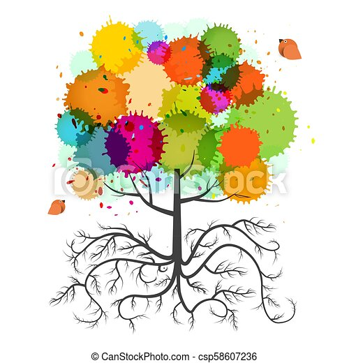Spring Tree with Roots and Colorful Splashes and Birds. Vector Isolated Abstract Plant. - csp58607236