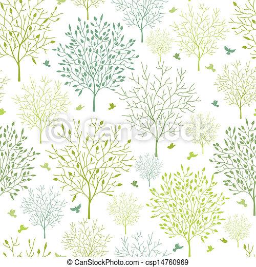 Spring trees seamless pattern background - csp14760969
