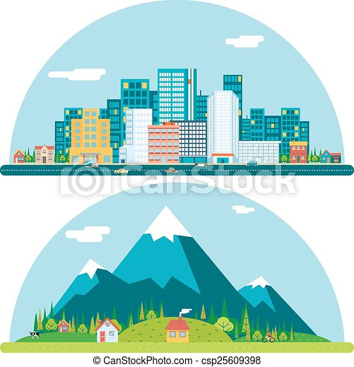spring urban and countryside landscape city village real estate