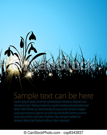 Spring vector grass background  - csp8343837