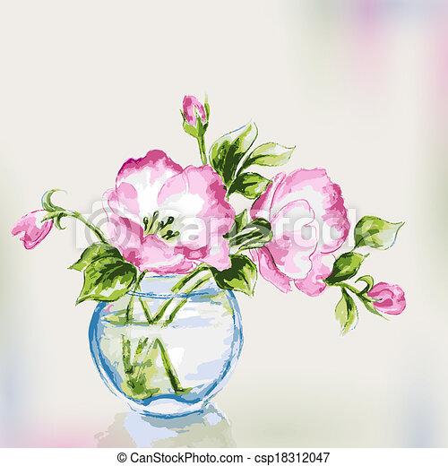 Spring watercolor flowers in vase.  - csp18312047