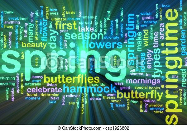 Spring wordcloud glowing - csp1926802