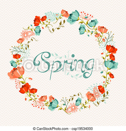 Spring Wreath Flower Composition Vector