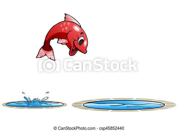 Fröhliche Fische springen in einen anderen Pool - csp45852440