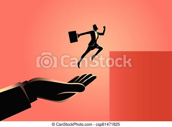springen, geschäftsfrau, höher, helfende hand - csp61471825