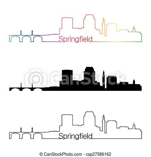 Springfield MA skyline linear style with rainbow - csp27586162