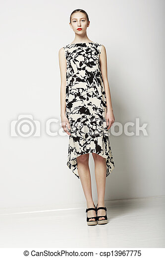 Springtime Collection. Elegant Slender Woman in Stylish Dress. Trendy Fashion Model - csp13967775
