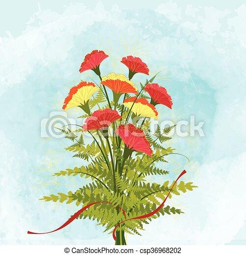 Springtime Colorful Carnation Flower Background - csp36968202