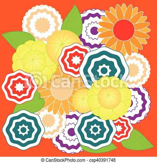 Springtime colorful flower pattern - csp40391748