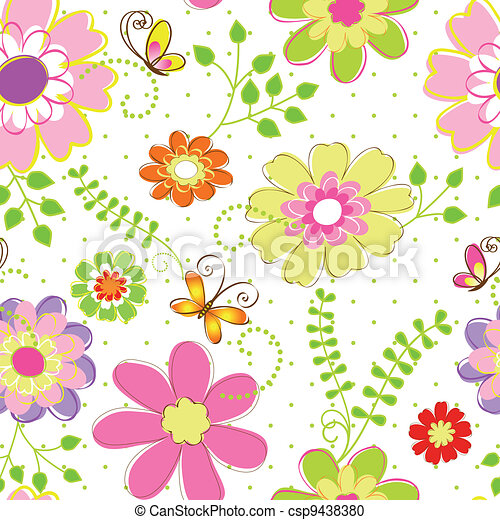 Springtime colorful flower seamless pattern - csp9438380