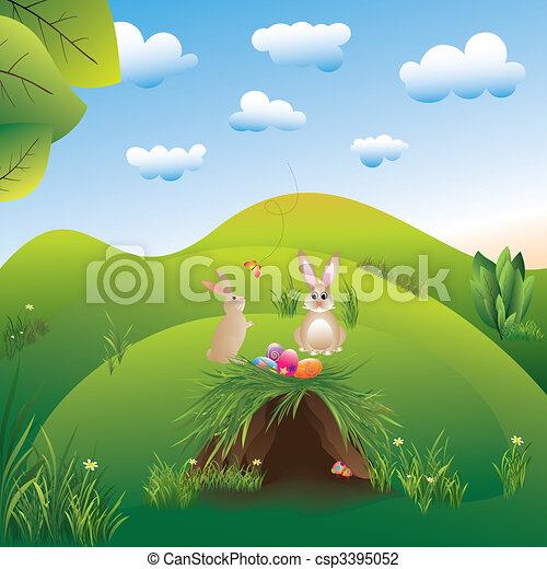 Springtime easter holiday landspace hares in the wonderland - csp3395052