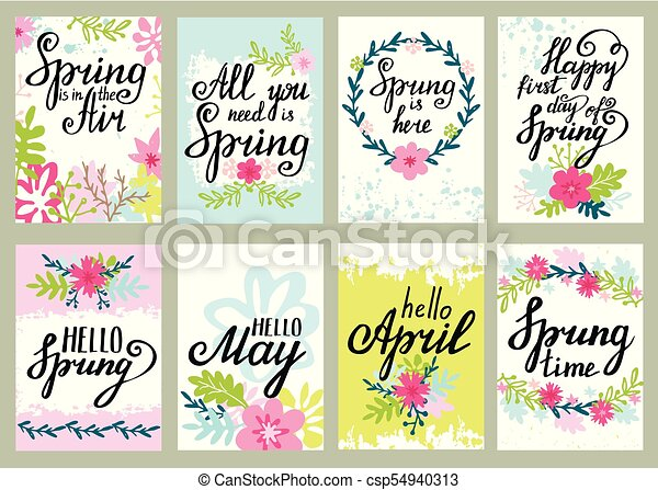 Springtime Floral Greeting Card Vector Set With Spring Quotes