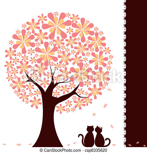 Springtime flower tree with love cats - csp6335620
