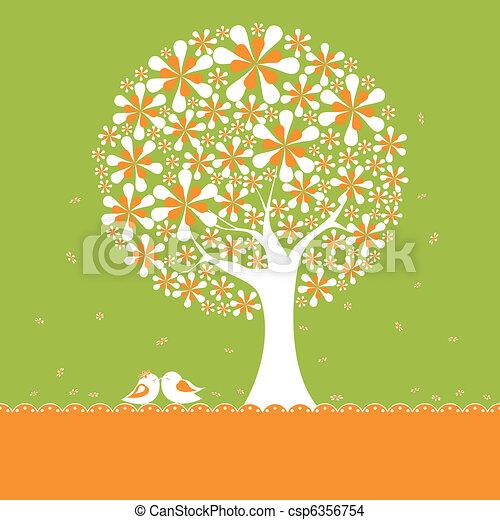 Springtime flower tree with lovebirds - csp6356754
