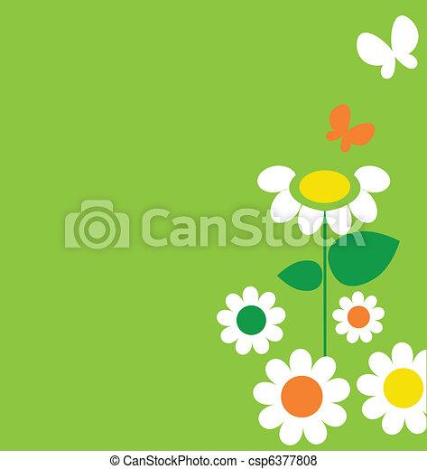 Springtime flowers and butterflies - csp6377808