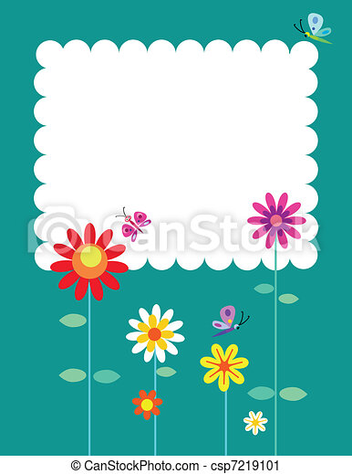 Springtime flowers and butterflies - csp7219101