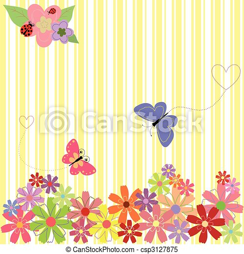 Springtime flowers & butterflies on yellow stripe background - csp3127875