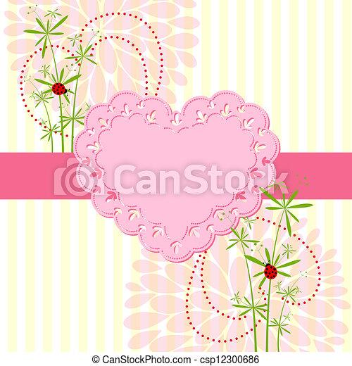 Springtime Love Card with Flower - csp12300686