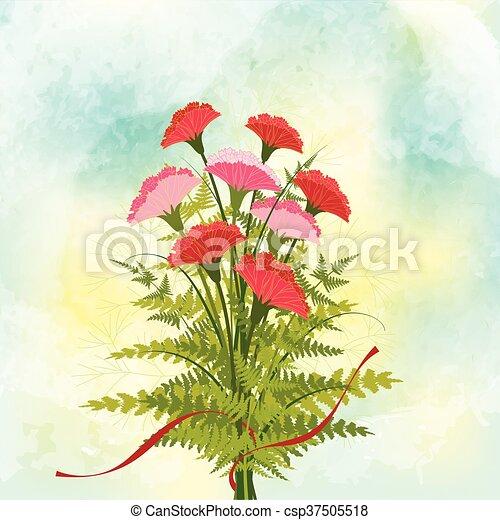 Springtime Red Carnation Flower Bac - csp37505518