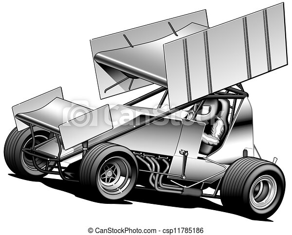 Line Drawing Car : Sprint car. black line & airbrush illustration stock