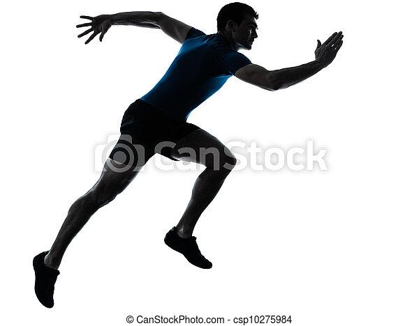 Ein Läufer rennt mit einem Sprinter - csp10275984