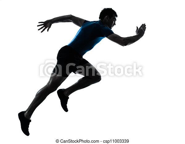 Ein Läufer rennt mit einem Sprinter - csp11003339
