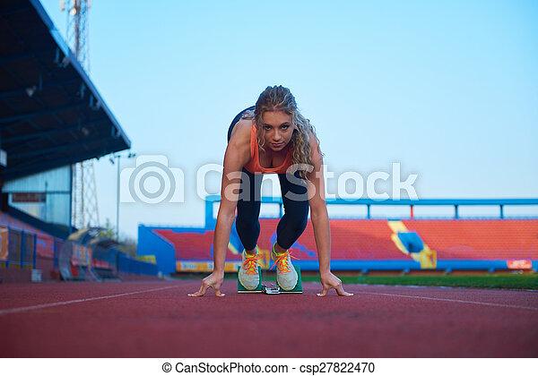 sprinter, frau, blöcke, beginnen, abgang - csp27822470