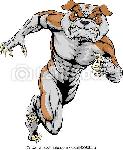 Sprinting Tough Bulldog Mascot - csp24298655