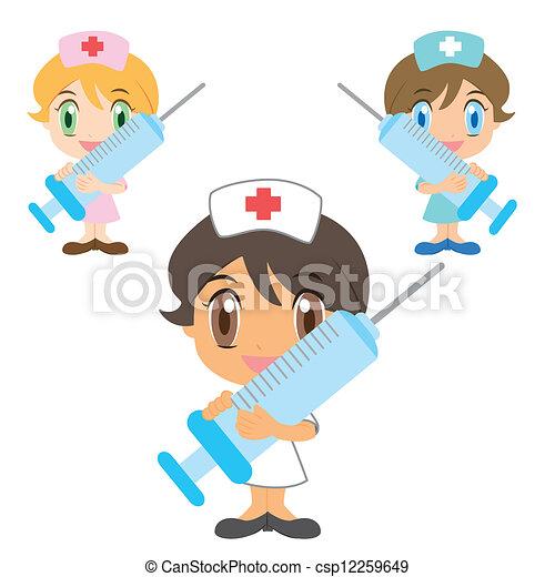 spritze, krankenschwester, karikatur - csp12259649