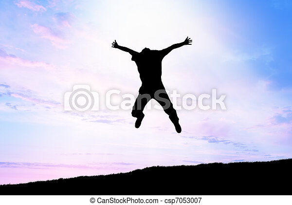 sprong, hemel, man - csp7053007