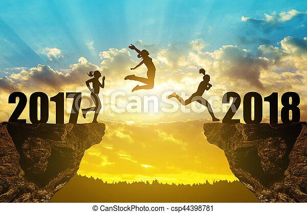 sprong, nieuw, meiden, 2018, jaar - csp44398781