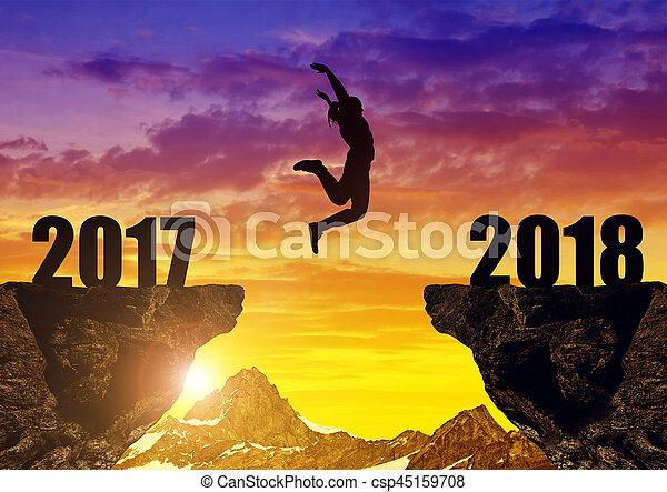 sprong, nieuw, meiden, 2018, jaar - csp45159708
