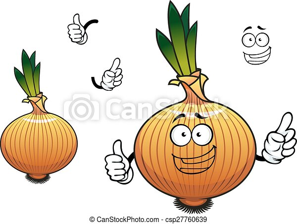 Sprouted cartoon golden onion vegetable character - csp27760639