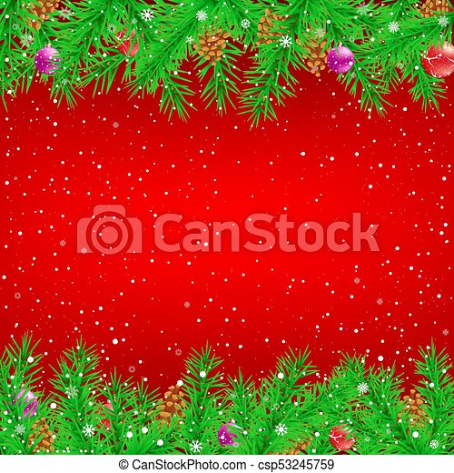 Red Christmas Background.Spruce Branch Red Christmas Background