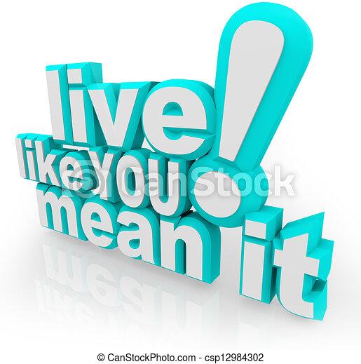 Leben, wie du es mit 3D-Wörtern meinst - csp12984302