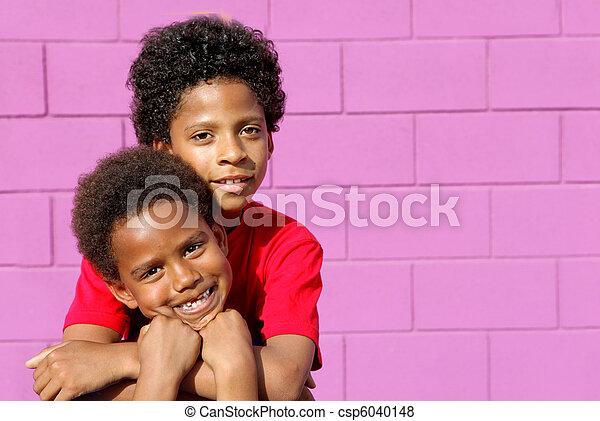 sprytny, dzieciaki, schodzenie, amerykanka, czarnoskóry, afrykanin, albo - csp6040148